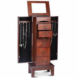 Jewelry Wood Cabinet Armoire Storage Box Chest Stand Organiz