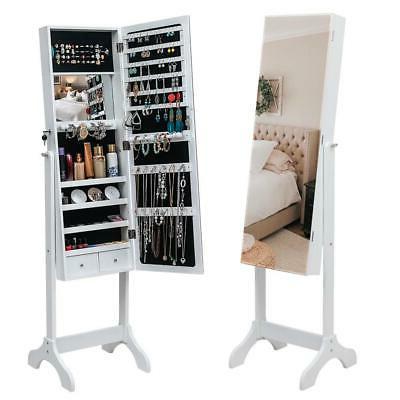 Free Standing Mirror Jewelry Cabinet Armoire Storage Organiz