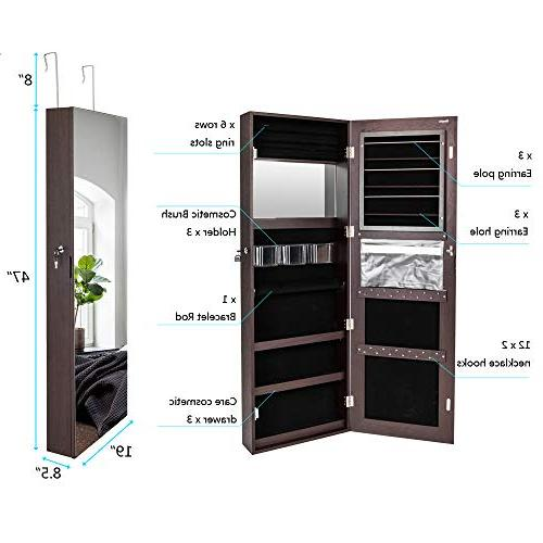 All Screen Jewelry Cabinet,Full Length Jewelry Beauty,Lockable w/Free Mounted Hanging