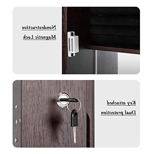 Bonnlo All Screen Cabinet,Full Display, Beauty,Lockable Safe Key,Wall Mounted or Door
