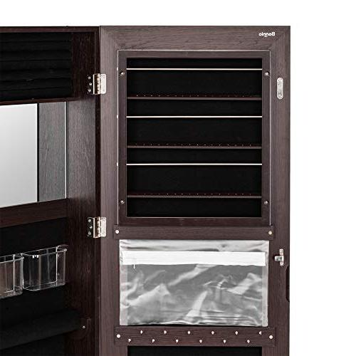 Bonnlo x All Jewelry Armoire Cabinet,Full Length Mirror Jewelry Organizer, Makeup Beauty,Lockable Safe Mounted or