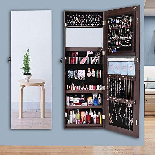 "Bonnlo 48"" 20"" All Cabinet,Full Jewelry Beauty,Lockable w/Free Safe Key,Wall Mounted Door Hanging"
