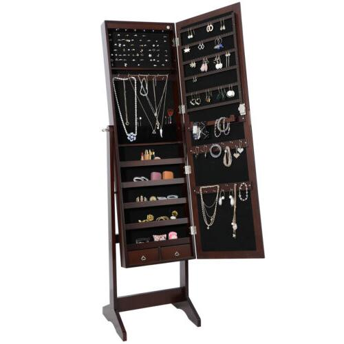 6 LED Organizer Cabinet Lockable Free Standing w/2