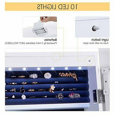6 LEDs Lockable Standing Jewelry Armoire