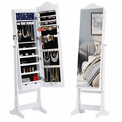 6 leds lockable standing jewelry cabinet full