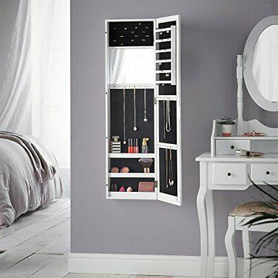Beautify Full Mirrored Jewelry Armoire Cabinet Organizer Mou