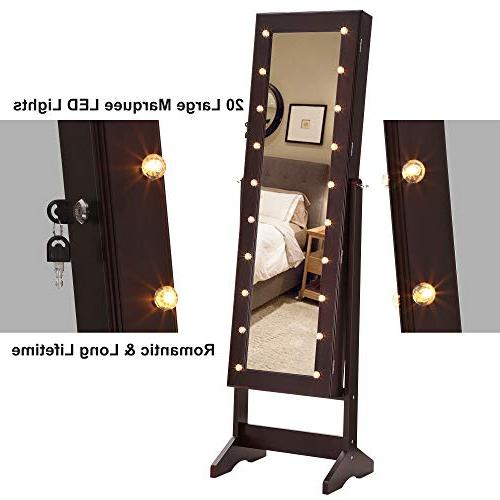 SONGMICS LED Jewelry Cabinet Armoire with Lockable Jewelry Marquee Lights, Brown UJJC81BR