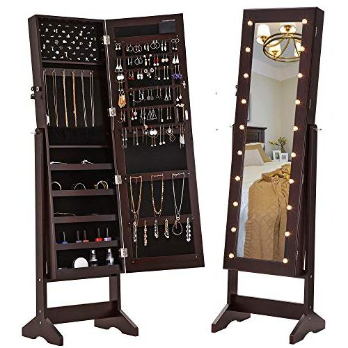 SONGMICS LED Jewelry Cabinet Armoire Mirror, Lockable Jewelry Organizer Marquee Brown