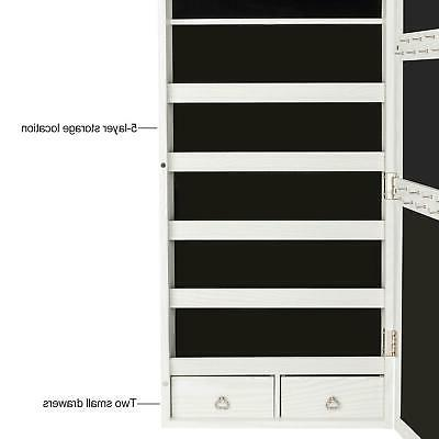 Mirrored Jewelry Cabinet Armoire w/ LED