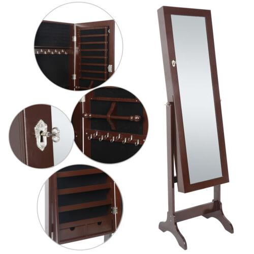 Jewelry Cabinet Armoire Lockable, Free Standing Jewellery Mirror Nz