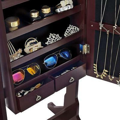 Free Standing Jewelry Cabinet Storage Holder Brown