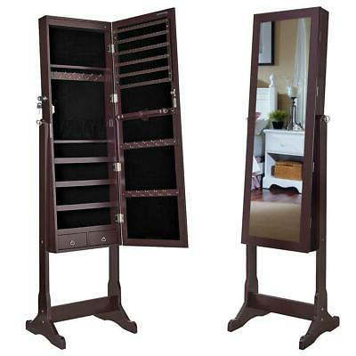 free standing mirror jewelry cabinet armoire storage