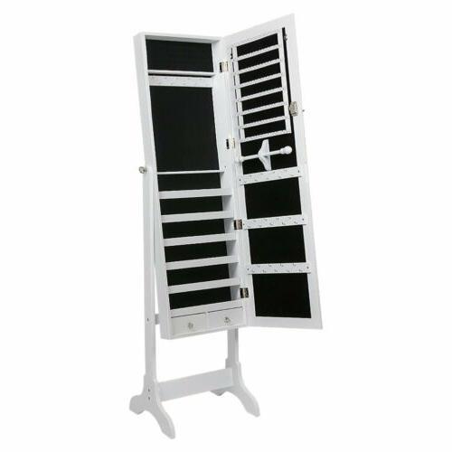 Free Length Mirror Jewelry Cabinet Armoire Storage Organizer
