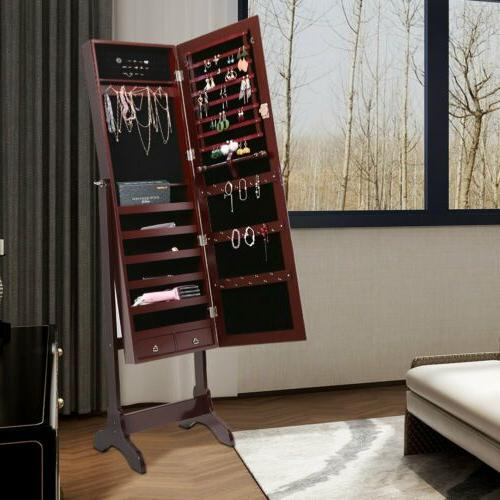full length free standing mirror jewelry cabinet