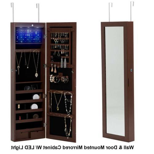 Wall Mirrored Storage Organizer Brown
