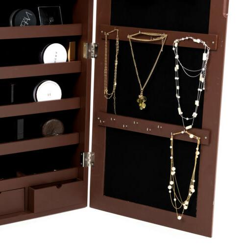 Wall Door Mirrored Jewelry Cabinet Storage