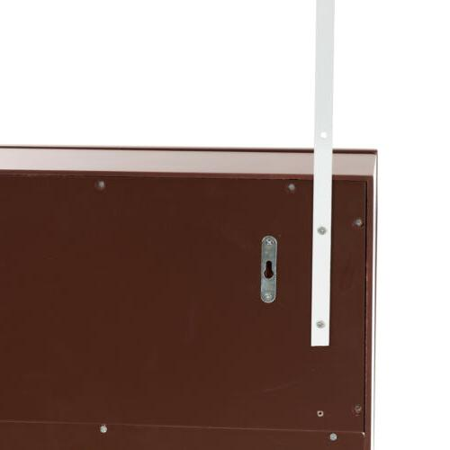 Wall Door Mirrored Jewelry Cabinet Armoire Storage Brown