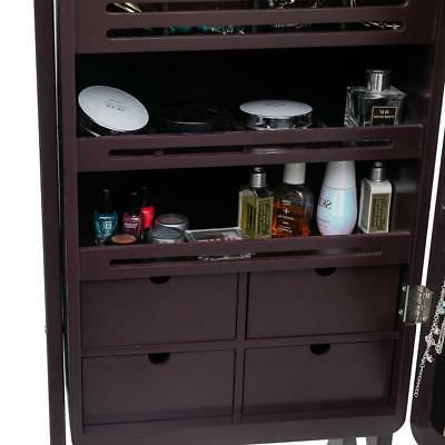 Mirrored Lockable Armoire Organizer Storage w/ Stand