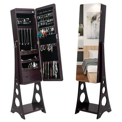 Mirrored Lockable Armoire w/ Stand