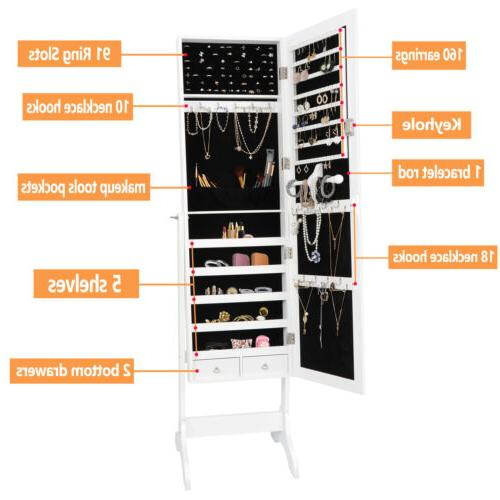 Full Mirror Jewelry Cabinet Storage