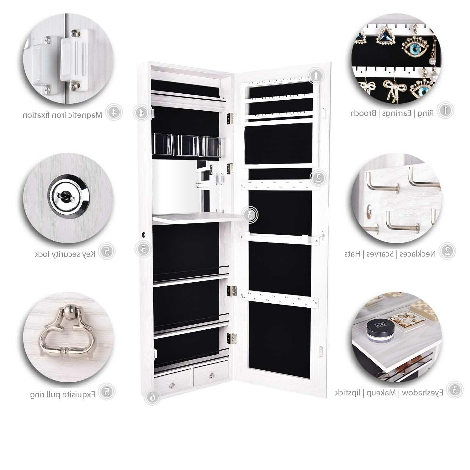Full Mirror Cabinet Mounted Storage Armoire