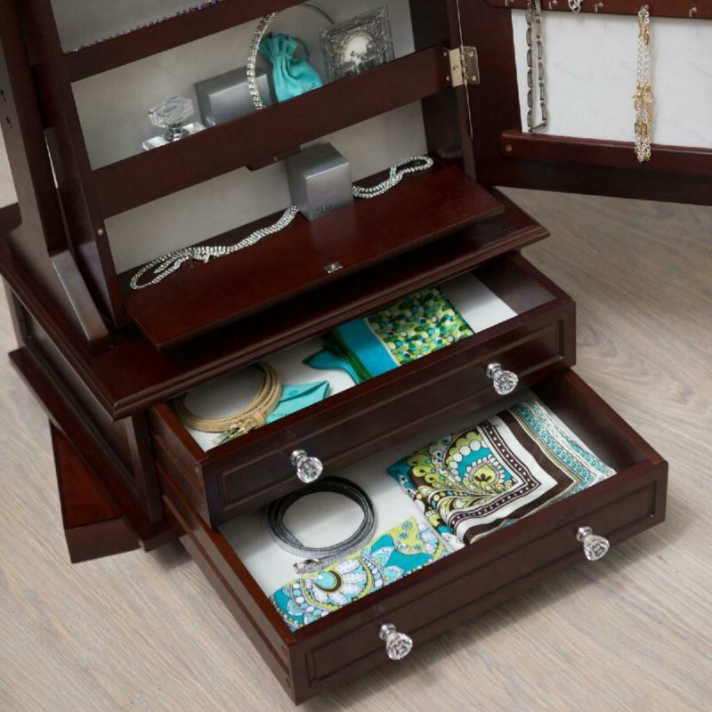 Full Wood Cheval Mirror Locking Jewelry Armoire