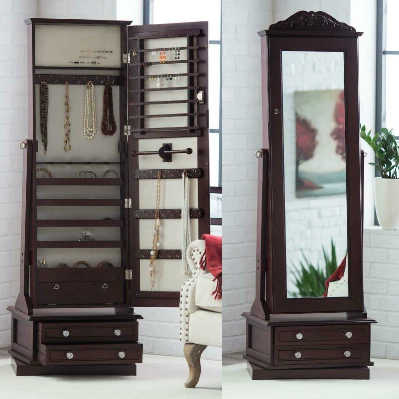 Full Length Wood Swivel Cheval Locking Jewelry Armoire