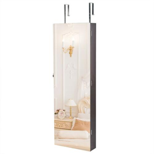 Full Mirror Wall Mounted Jewelry Cabinet Storage