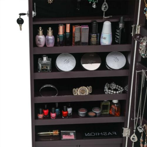 Full Mirror Mounted Jewelry Storage Dressing Armoire