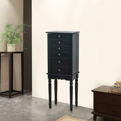 Jewelry Box Cabinet Standing Drawer Top Mirror