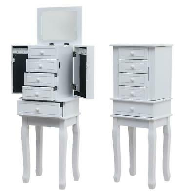 Jewelry Armoire Chest Storage Organizer White