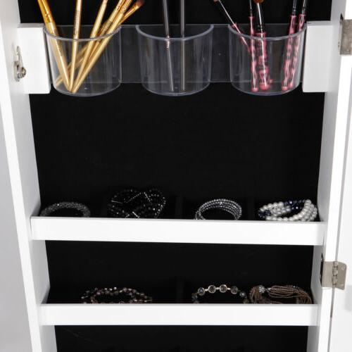Jewelry Cabinet Organizer Armoire Wall Door Mounted w/Frameless