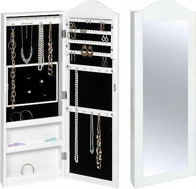 LANGRIA Standing Lockable Mirrored Jewelry Armoire w/ Stand