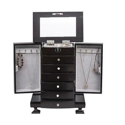 Large Wooden Jewelry Armoire Cabinet Necklace Ring Storage