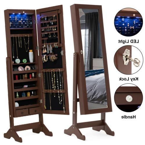 Full Length LED Mirror Jewelry Cabinet Storage Organizer Flo