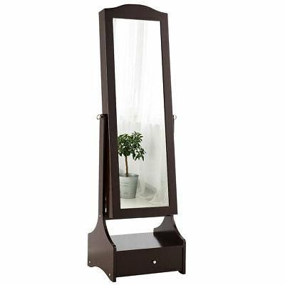 LED Mirrored Jewelry Cabinet Armoire Home Organizer w/ Makeu