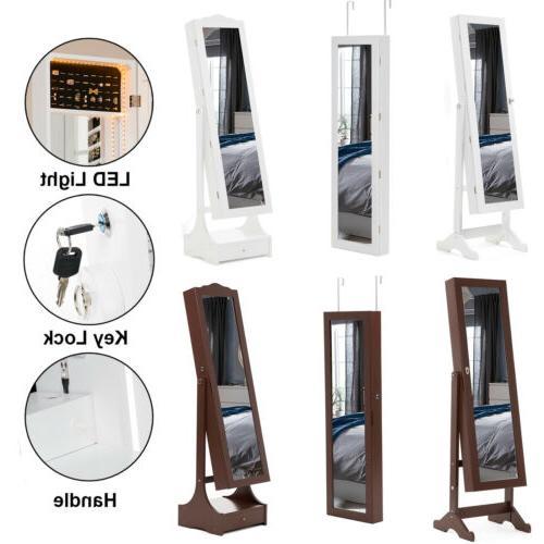 LED Mirror Jewelry Cabinet Armoire Storage Organizer Floor S