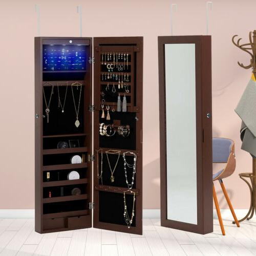 led mirror jewelry cabinet wall door mounted