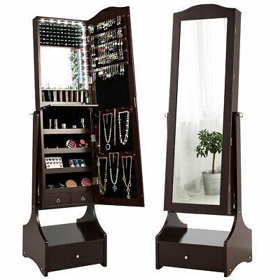 LED Mirrored Jewelry Cabinet Armoire Storage Organizer w/ Ma