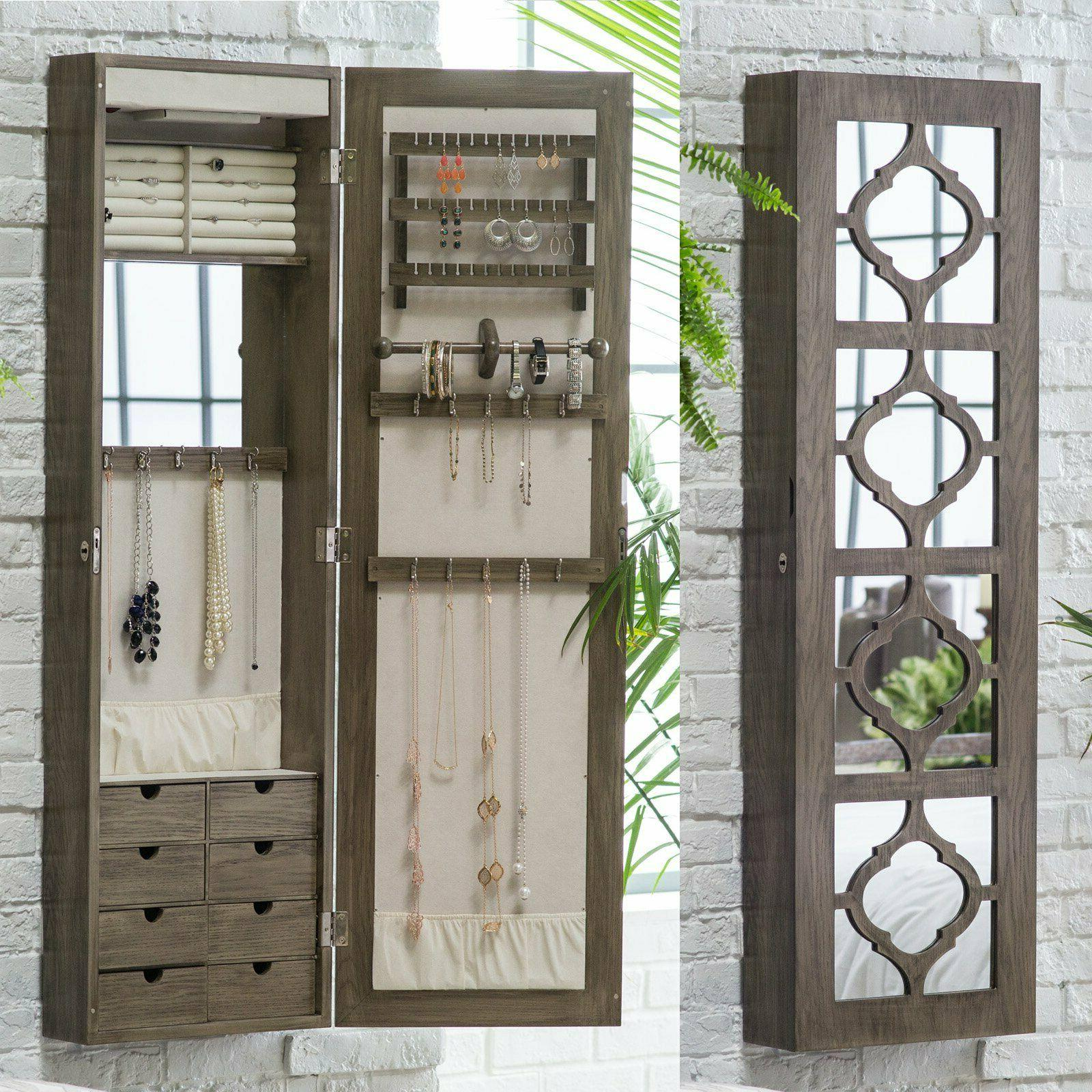 Lighted Locking Quatrefoil Wall Mount Jewelry Armoire Glossy
