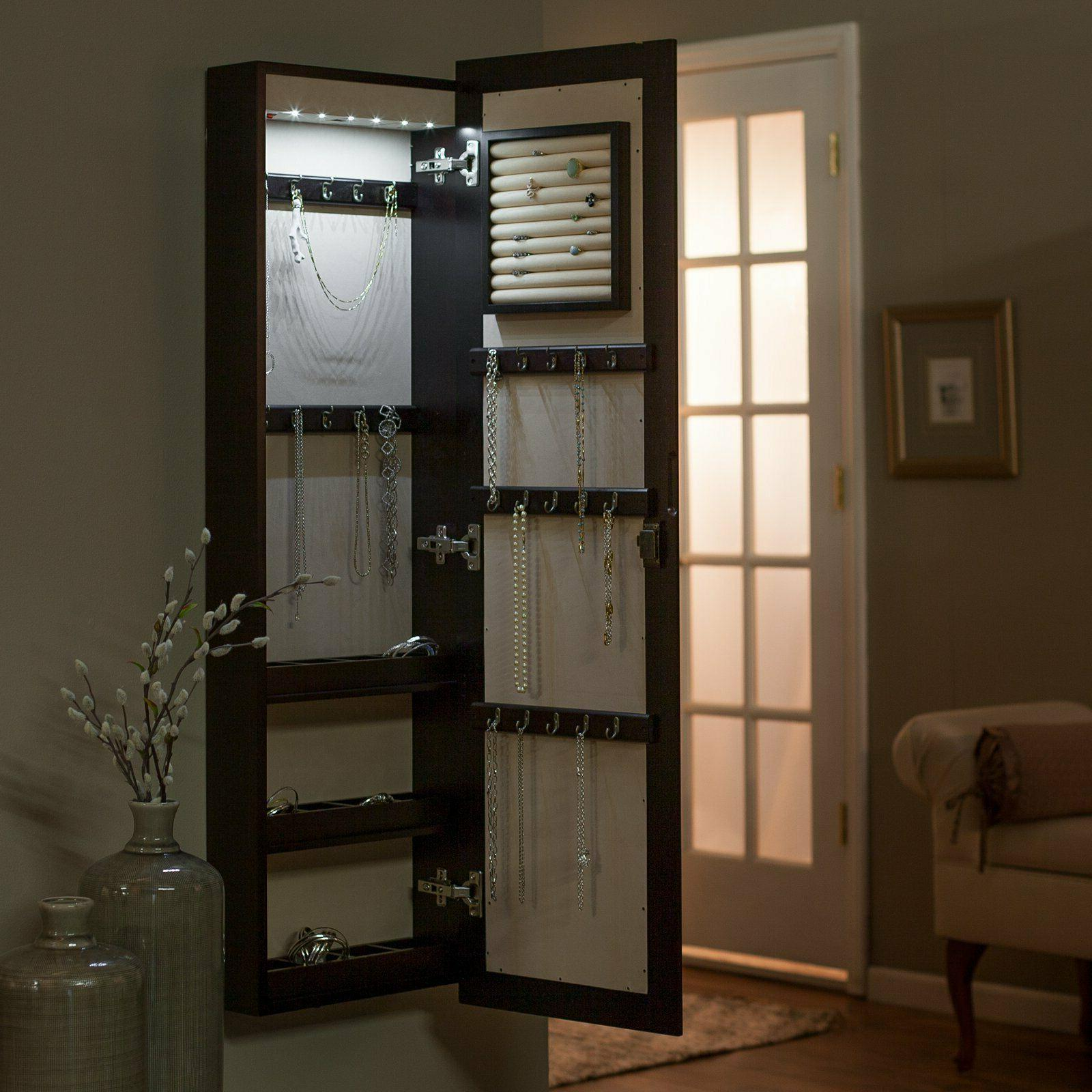 Lighted Mount Jewelry Armoire- Espresso