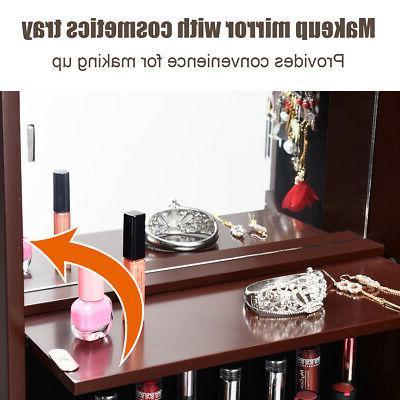 Lockable Mirror Cabinet Armoire Organizer Mounted