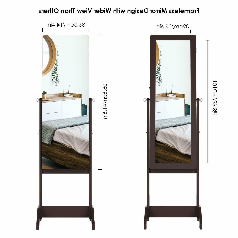 Lockable Mirrored Cabinet Armoire Box W/