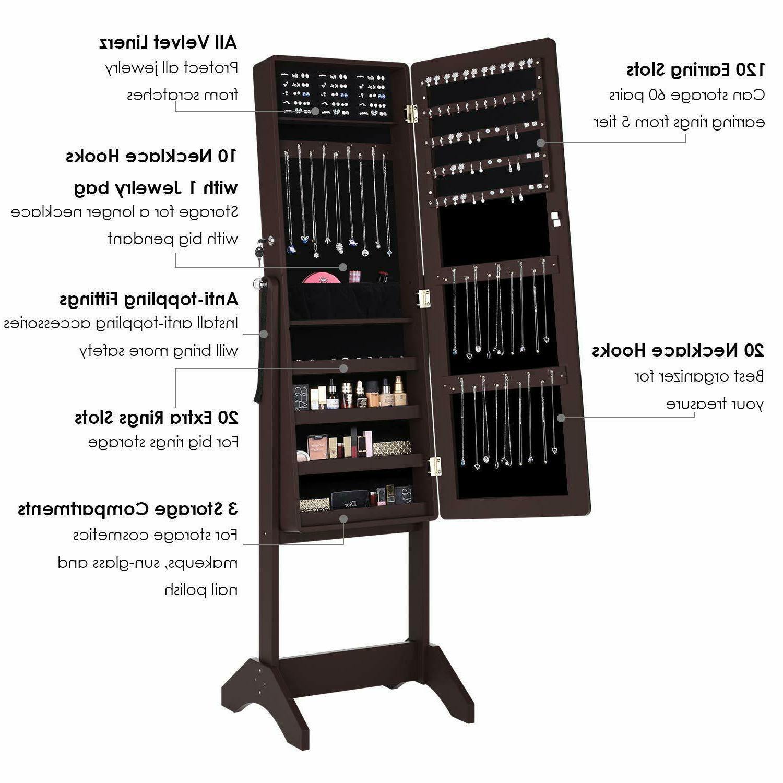 Lockable Jewelry Armoire Box W/