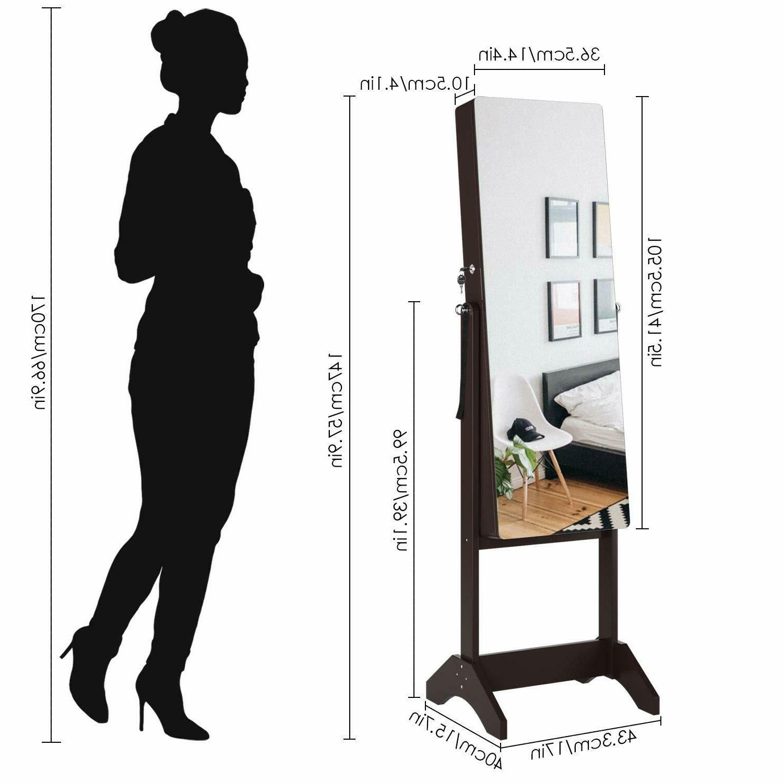 Lockable Mirrored Jewelry Cabinet Armoire Organizer Box W/