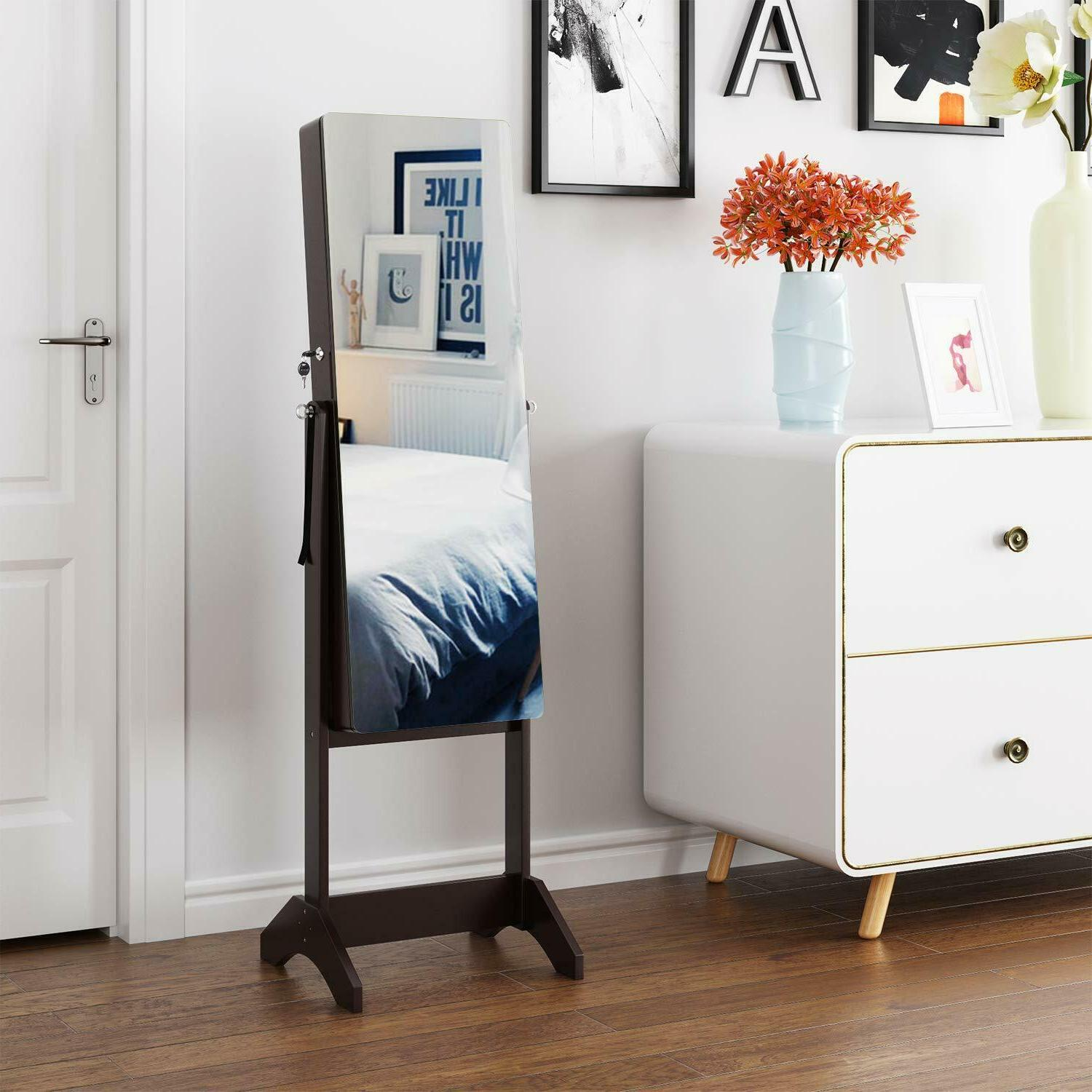 Lockable Mirrored Jewelry Armoire Box Stand