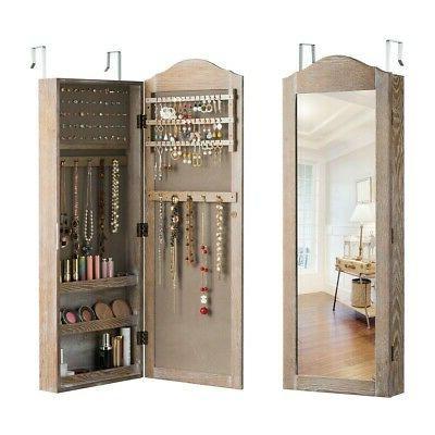 Mirror Jewelry Cabinet Wall Organizer Storage