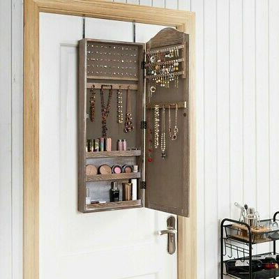mirror jewelry armoire cabinet wall door mounted
