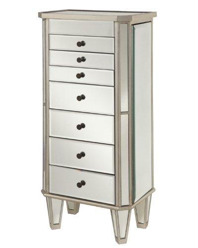 Powell 233-314 Mirrored Jewelry Armoire with Silver Wood
