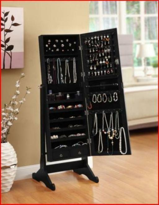 Mirrored Jewelry Armoire Cabinet Box Black Cheval Mirror Sta